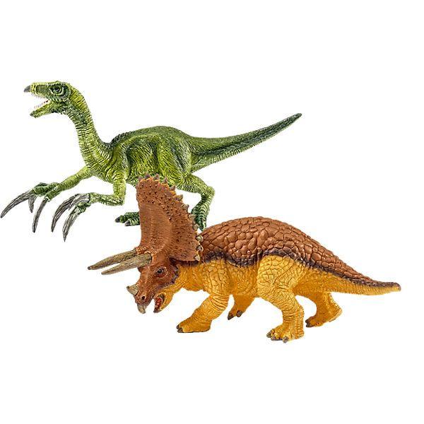 Der sehr treffende Name Triceratops bedeudet Dreihornschädel,   Den Kopf dieses mächtigen Sauriers prägten die drei Hörner und ein enormer Nackenschild. Das alles diente wahrscheinlich der Abwehr von Angriffen. Therizinosaurus beeindruckt durch seine riesigen, sichelartigen Klauen, die er wahrscheinlich zur Verteidigung einsetzte, nicht um zu jagen. Denn er war ein Pflanzenfresser.<br /> <br /> +++Details+++<br /> + Triceraptos - Maße (L/B/H): 13,7 x...