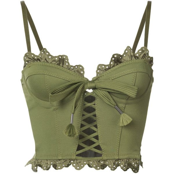Fenty X Puma ruffled lace-up bustier ($655) ❤ liked on Polyvore featuring tops, crop top and green