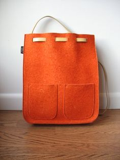 felted wool backpack with leather straps