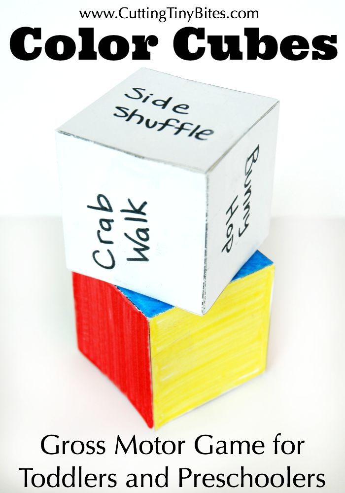 COLOR CUBES: Gross Motor Game For Toddlers and Preschoolers.  Get your kids moving!