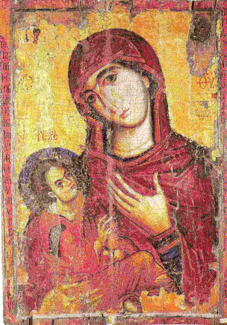 Hodigitria dexiocratusa Дексиократуса (потому что Младенец сидит на правой руке Богоматери). Византия. Синай, XIII в.