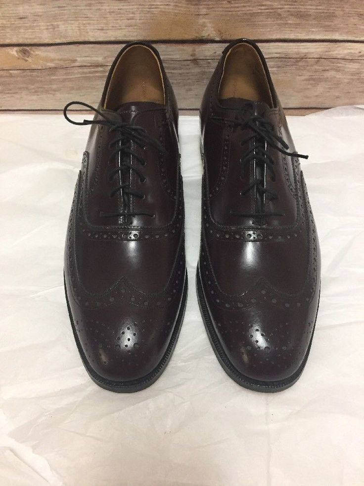 Johnston Murphy Shoes Mens 10.5 D Oxford Brogue Wing Tip Cordovan Leather  #JohnstonMurphy