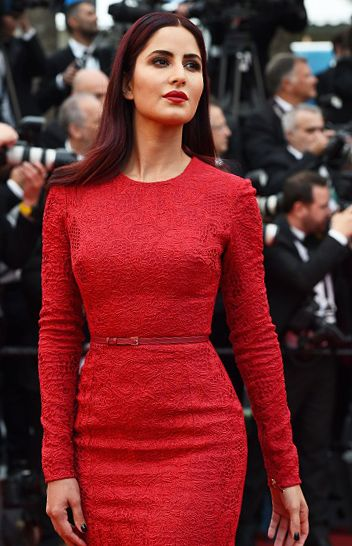 "The lady mermaid in red: Katrina Kaif in Elie Saab curve hugging mermaid hemline red dress at ""Mad Max: Fury Road"" Premiere Cannes Film Festival 2015 Red Carpet. #cannes #cannes2015"