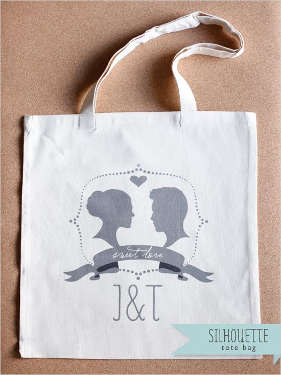 New Customized Silhouette Wedding Tote $10