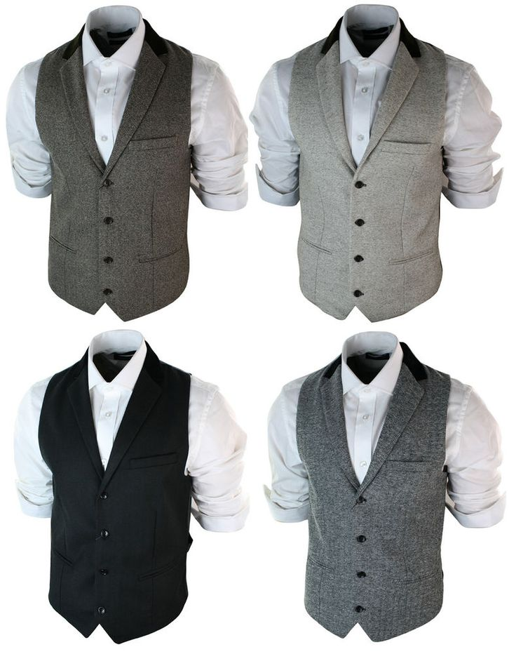 Mens Vintage Tweed Waistcoat Herringbone Brown Cream Black Grey Slim Fit #marcdarcy #joronny