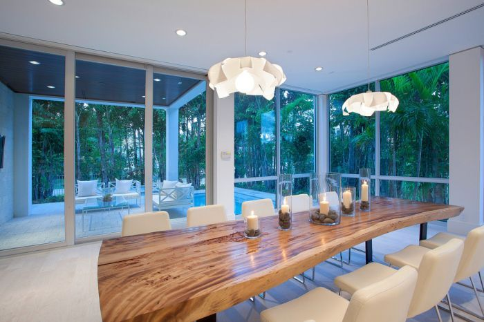 Modern Dining Room With A Tree Trunk Dining Table For 12 Off White