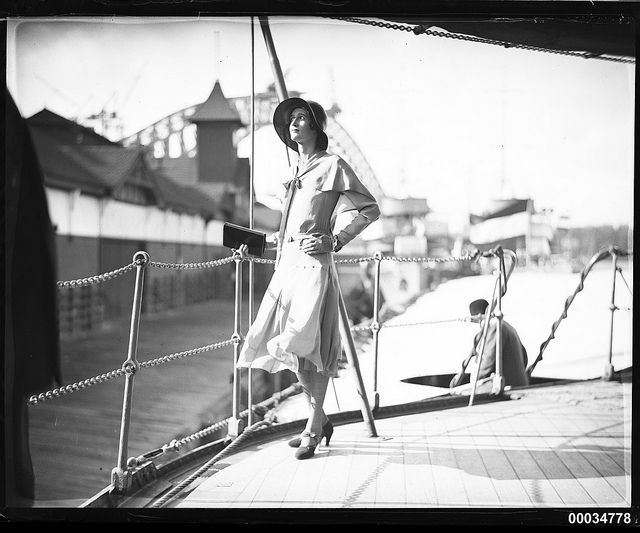 Miss Hera Roberts posing on the deck of HNLMS JAVA by Australian National Maritime Museum on The Commons, via Flickr