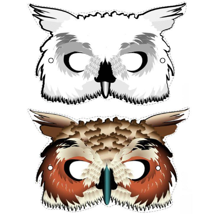Masque de hibou à télécharger                                                                                                                                                                                 Plus