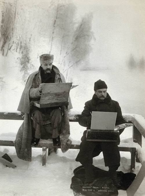 finnish painters Akseli Gallen-Kallela and Albert Edelfelt painting in the snow - 1893 .