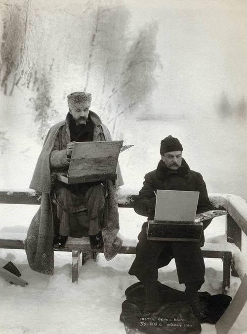 finnish painters Akseli Gallen-Kallela and Albert Edelfelt painting in the snow - 1893 .