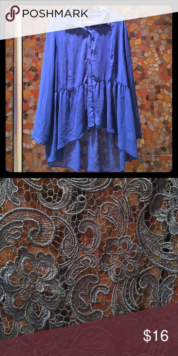 Chiffon Royal blue top Chiffon Royal blue, with large ruffle and blue buttons. Back had thick blue lace cutout (lace is same color as shirt- Royal blue) BONGO Tops Blouses