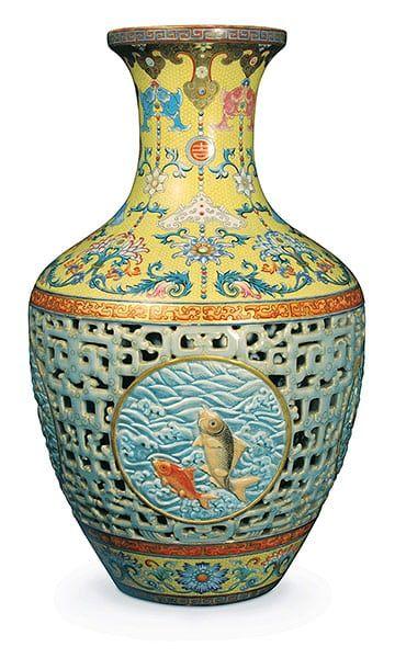 Top ten art auctions: Chinese 18th century Qianlong-dynasty porcelain vase