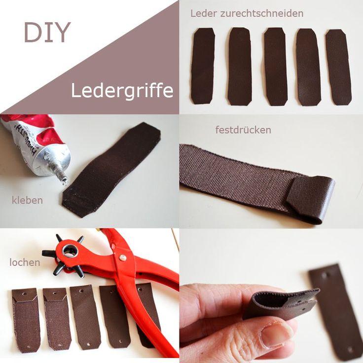 DIY Minikommode geometische Formen und Ledergiffe |