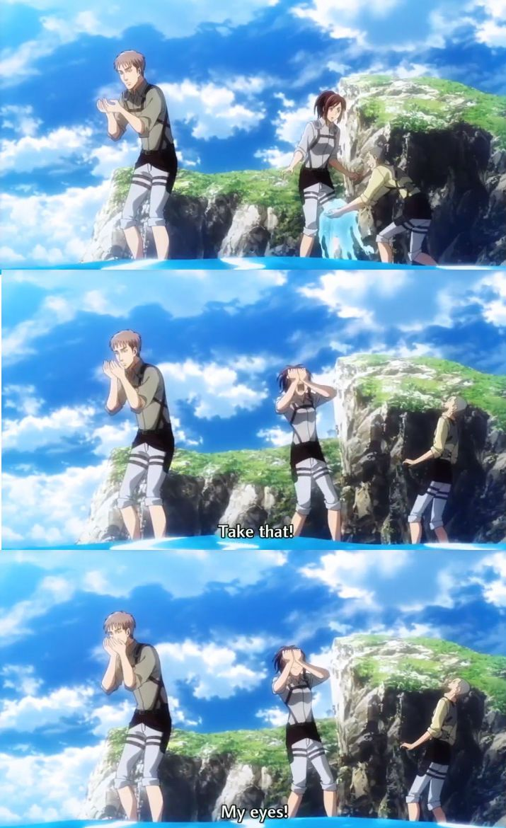Look At Those Kids Playing With The Water Attack On Titan Season Attack On Titan Anime Attack On Titan
