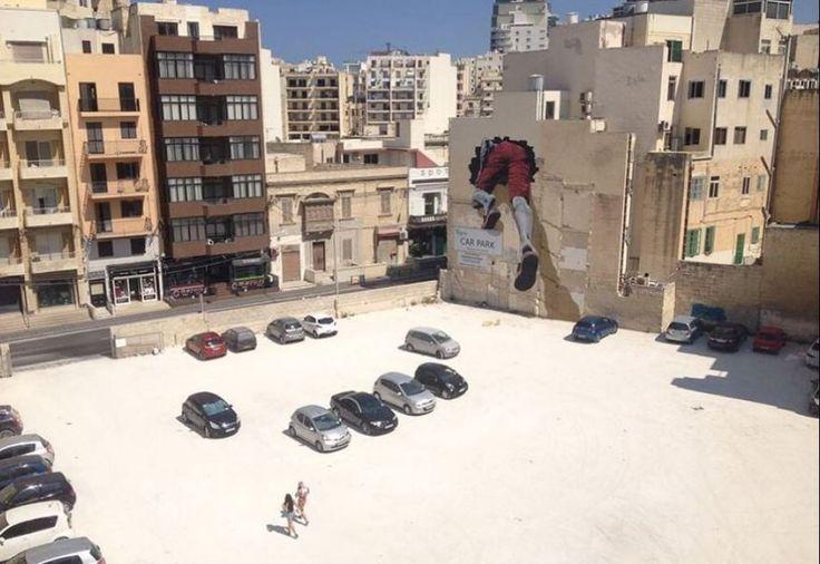 """MTO """"The Mediterranean Tunnel"""" - L'opera si compone di due murales, uno a Silema…"""