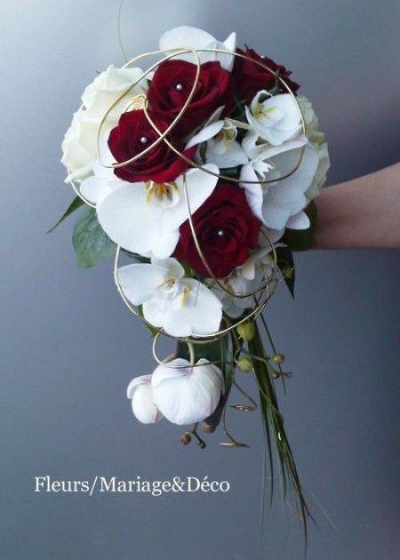 Bouquet mariée roses rouge et orchidées