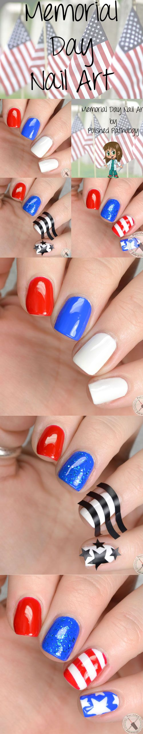 #MemorialDay Nail Art by Polished Pathology Using Vibrany Vinyls and Sinful Colors