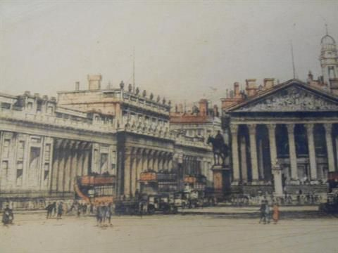 Edward W Sharland (XIX-XX) - Bank and Exchange - 30x43cm etching, signed to the mount