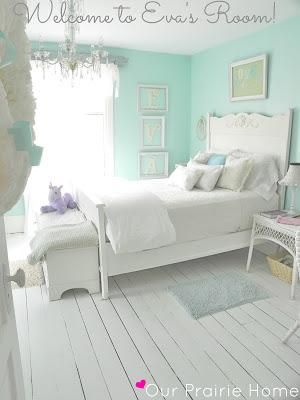 DIY Girls Room : Girls Bedroom            Love this shade of blue for a beach cottage!