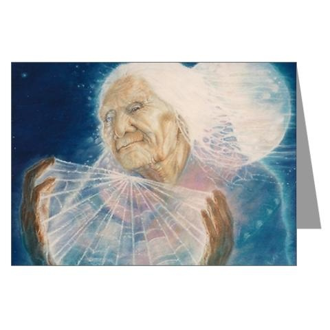 Spider Grandmother is creator of the world in religions and stories such of the Pueblo and Navajo or Dineh peoples. She was responsible for the stars in the sky: She had taken a web she had spun, laced it with dew, threw it into the sky,and the dew became the stars. (LInk goes to a notecard!)