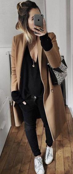 Camel Sezane Coat | Black V-Neck Sweater | Black Denim Skinny Jeans | White Sneakers | Casual Winter Street Style |Audrey Lombard #camel