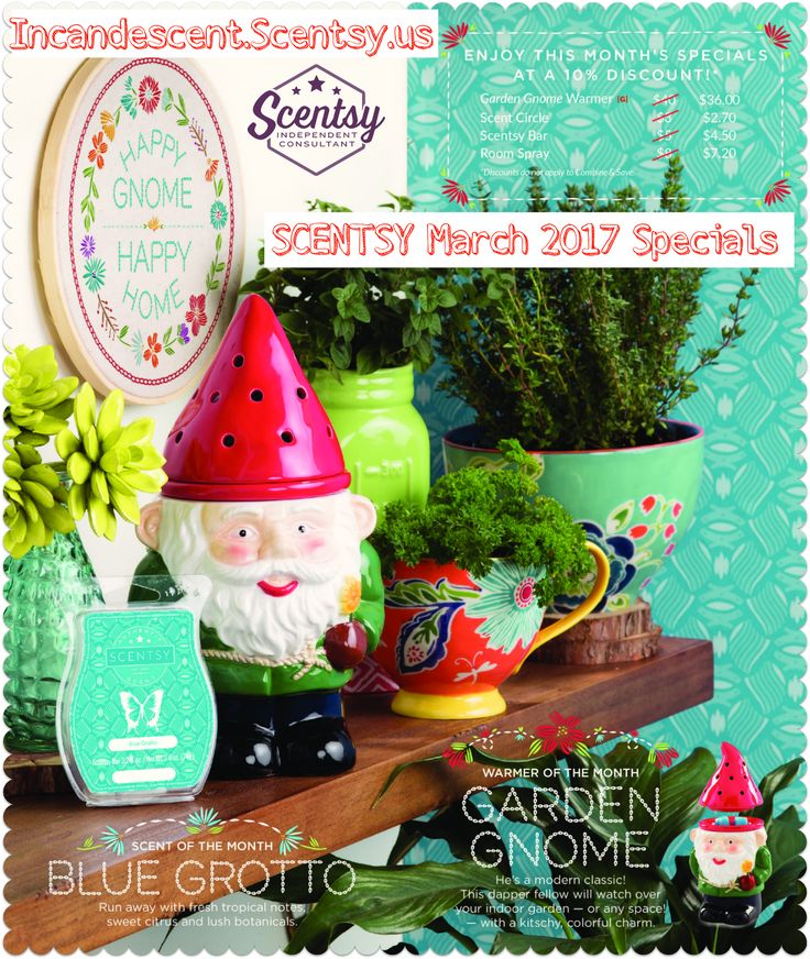 Love it, Want it? Place a pre-order!   The 2017 March Warmer of the month ~ GARDEN GNOME SCENTSY WARMER OMG, I ❤️ Gnomes!! He's a modern classic! This dapper fellow will watch over your indoor garden — or any space! — with a kitschy, colorful charm. $40.00 $36.00 on sale the Month of Ma…