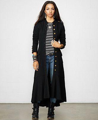 Denim & Supply Ralph Lauren Button-Up Flounced Duster Jacket - Jackets & Blazers - Women - Macy's