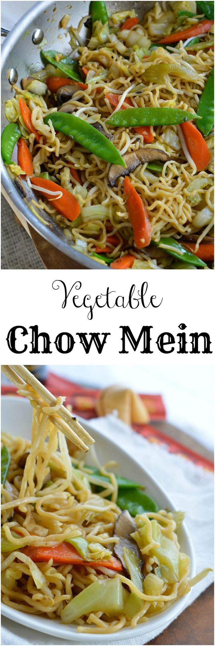 This Easy Chow Mein Recipe is how to make chow mein noodles at home. With this homemade take out you can enjoy vegetable stir fry for dinner without leaving your house! Chinese food straight from your kitchen! #OXOCookware #spon
