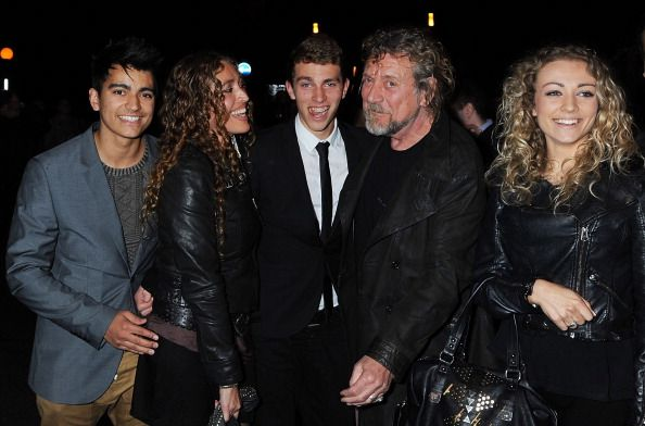 Robert Plant of Led Zeppelin and family attend the UK Premiere  Youngest son Jessie Plant , daughter Carmen and her son and daughter. Robert Plant's Grandchildren.