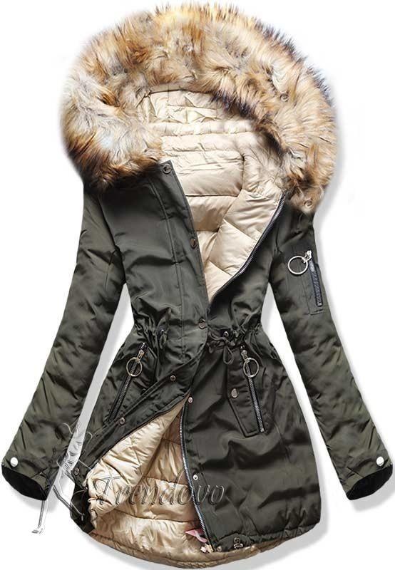 Oboustranná khaki/béžová bunda