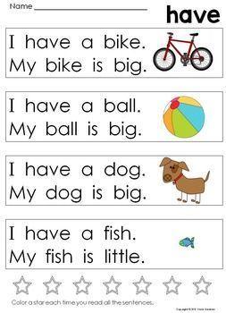 Kindergarten Sight Word Sentences For Guided Reading