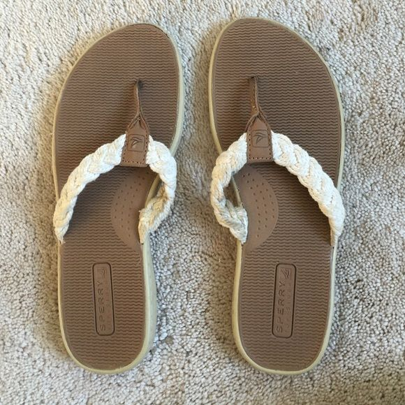 Sperry nautical sandals worn a couple of times, good used condition. Padded soles and thick comfortable straps perfect for spring and summer. Tan and white colors match any outfit! Shoes Sandals