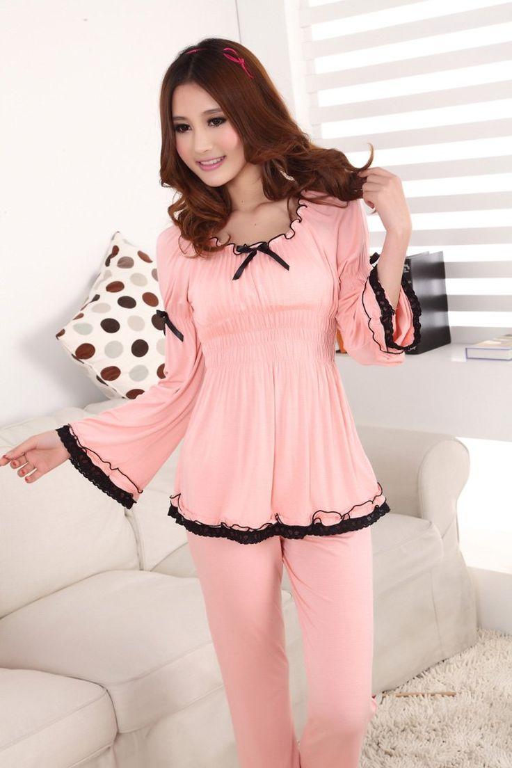 women spring autumn long sleeve solid bowtie lace modal pajamas set / homewear for women / women sleepwear-in Pajama Sets from Apparel & Accessories on Aliexpress.com