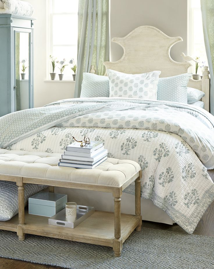Love this pretty aqua and cream bedroom