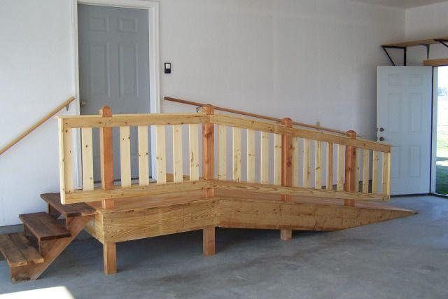 Elderly ramp in garage with steps.