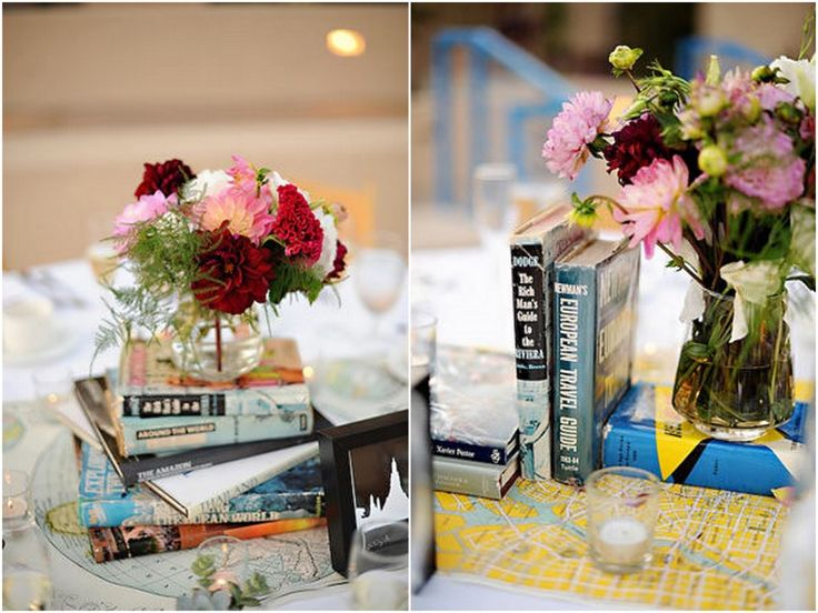 Great idea for hosting book club~book theme centerpieces.