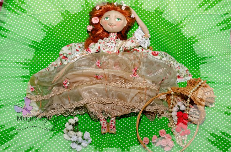 In dress of Roccoco style (textile jointed doll) 65 cm