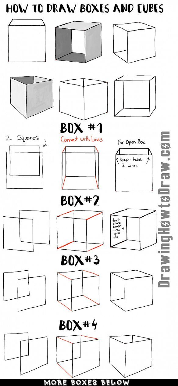 Learn how to draw boxes and cubes and shade them with easy step by step drawing