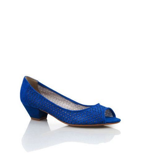 Bonbons - Chambray Blue Suede  Peep toe demi suede heel with laser cut outs.    Leather upper, synthetic lining and sole.    Heel: 3cm    BUY NOW