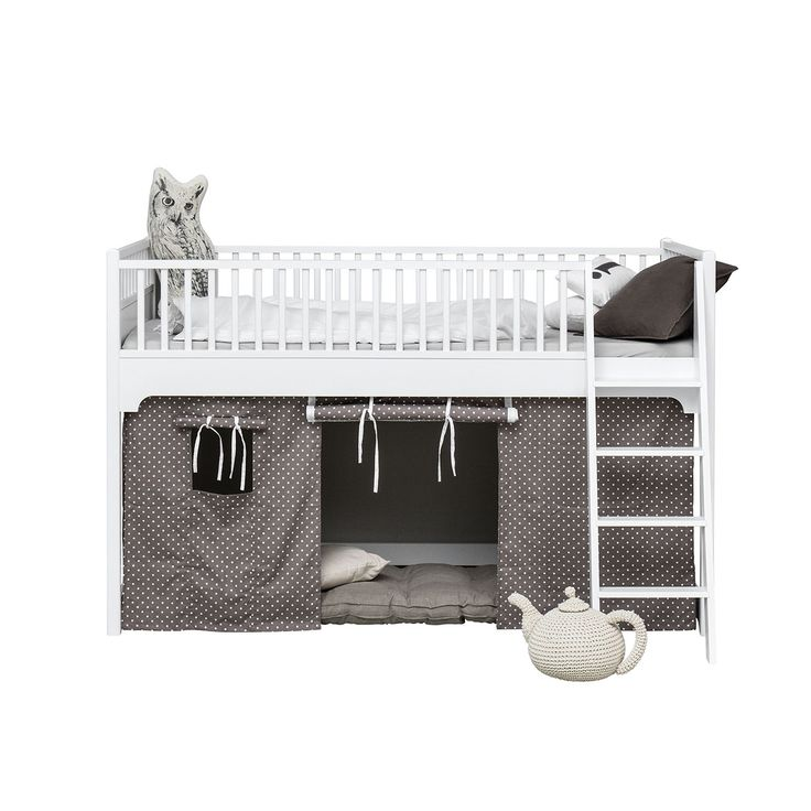Low loft bed is designed to meet the child´s need for secure and safe sleep at night. In the daytime the low loft bed frames the space for games.
