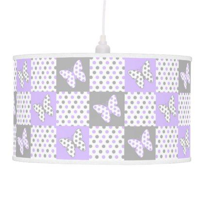 Purple Lavender Gray Grey Butterfly Polka Dot Girl Hanging Lamp - girly gifts special unique gift idea custom