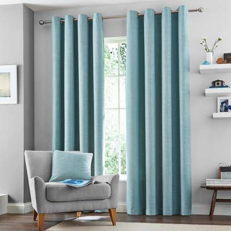 Duck Egg Vermont Lined Eyelet Curtains