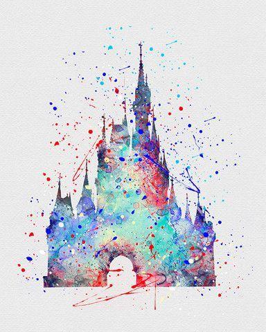 Cinderella Castle Watercolor Art - VividEditions. MF