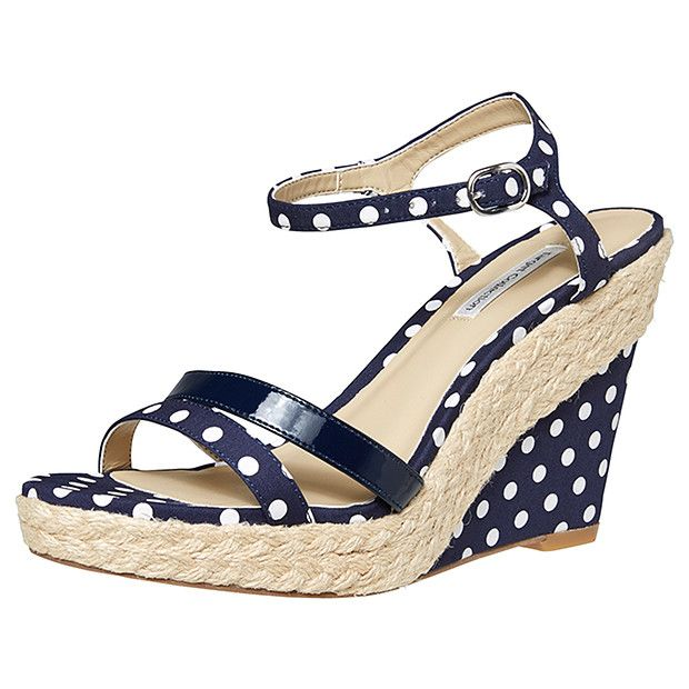How cute are these polka dot wedges? Vortex Wedge Sandals - Navy Spot