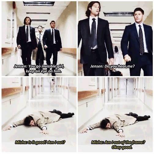 """Am I out of the frame?"" Hahaha. Oh, Misha. :):"