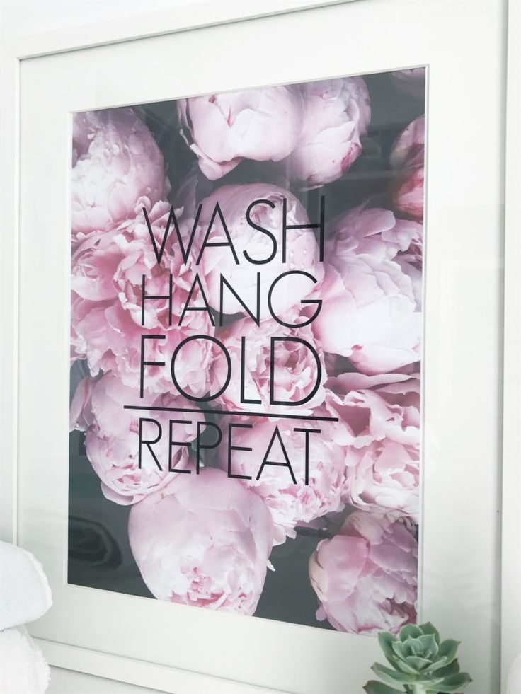 'Wash hang fold repeat' stylish laundry artwork available to buy from our online store. Bring style and cheer to your laundry.