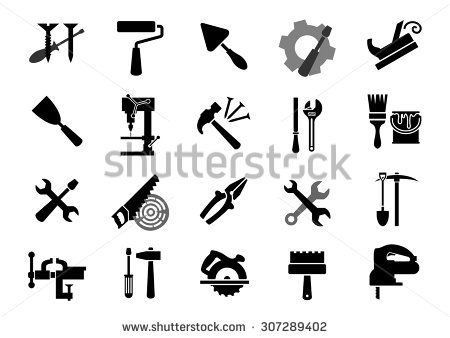 Black icons of of screwdrivers, wrench, paint roller and brush, trowel, jack plane, hammer, pliers, saw, rasp, drill press, pickaxe, shovel, vice, miter saw, spatulas, fretsaw
