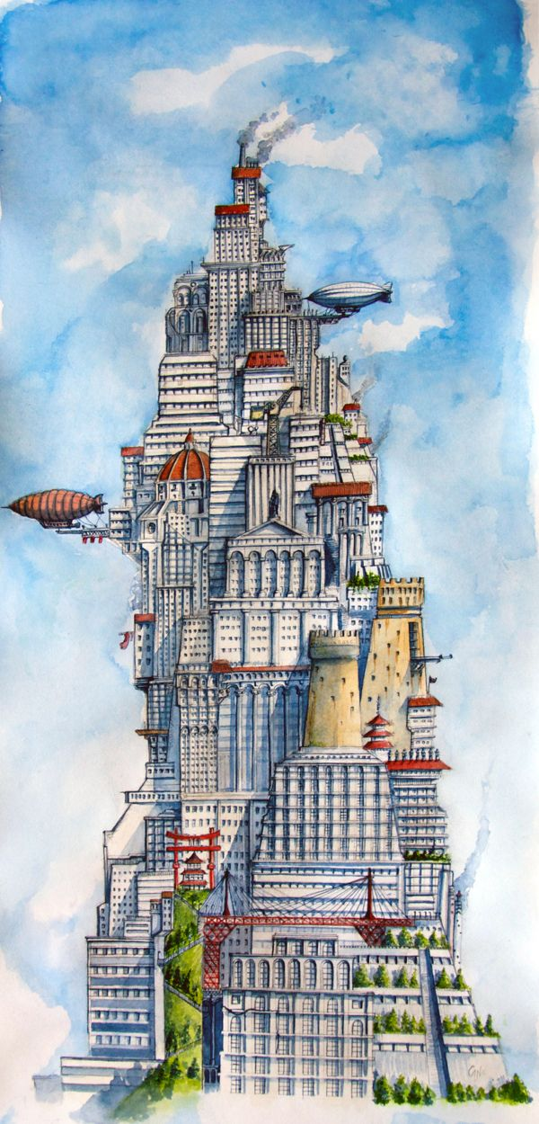 Babel - Floating cities by Davide Magliacano, via Behance