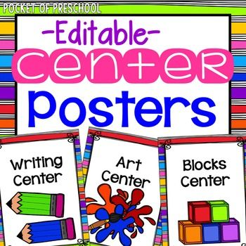 Center Signs: Center Signs in RAINBOW with bright bold colors design!  Label your centers so students are able to move around and transition easily.  This set will help you and your preschool, pre-k, or kindergarten students manage centers. All you need to do is print, cut, and laminate.
