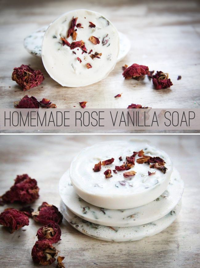 Homemade Soap with Roses and Vanilla